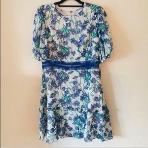 Donna Morgan Dresses - NWT Donna Morgan Floral Fit Flare White Blue Dress